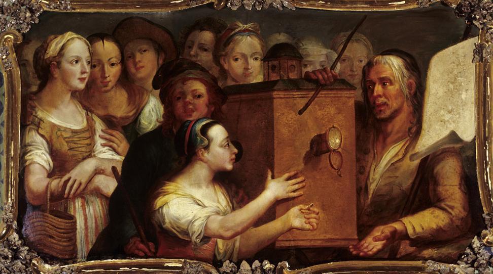 Gemälde eines Guckkastenmannes von Andreas Brugger um 1770, aus dem Vagantenkabinett im Neuen Schloss Tettnang; Foto: Staatliche Schlösser und Gärten Baden-Württemberg, Arnim Weischer