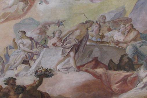 Deckenfresko im Tafelzimmer im Neuen Schloss Tettnang