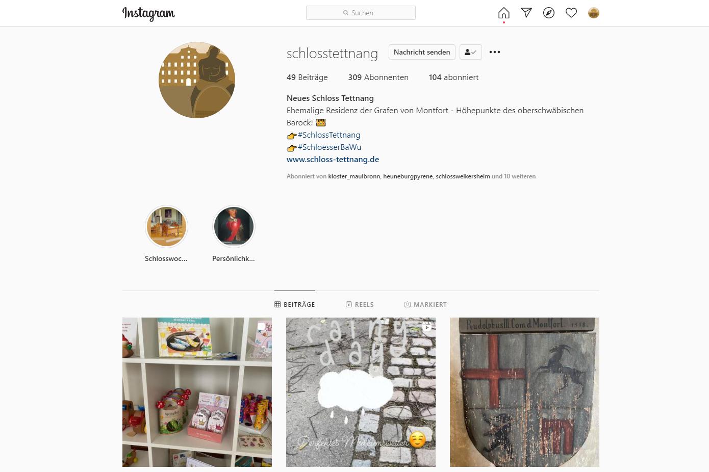 Schloss Tettnang, Instagramseite