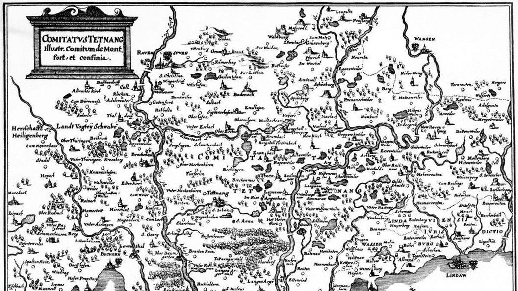 Kupferstich der Grafschaft um Tettnang von Matthäus Merian, 1643; Foto: Landesmedienzentrum, Urheber unbekannt