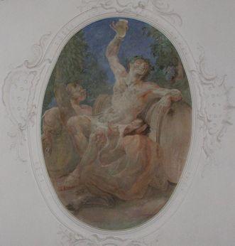 Fresko mit Gott Bacchus von Andreas Brugger im Treppenhaus des Neuen Schlosses Tettnang