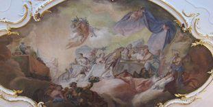 Deckenfresko von Franz Martin Kuen von 1758 im Tafelzimmer im Neuen Schloss Tettnang