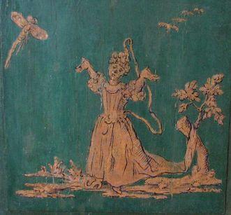 Detail der Chinoserie am Lambris von Brugger