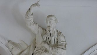 Stuckfigur des Propheten Habakuk von Johann Casper Gigi in der Schlosskapelle im Neuen Schloss Tettnang