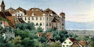 Historische Ansicht auf Schloss und Bodensee in einem Aquarell von Luise Martens, 1867.