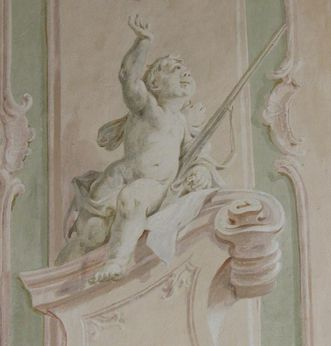 Detail eines Putto im Treppenhaus im Neuen Schloss Tettnang