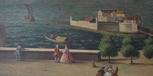 Detail eines Bilder im Flur im Neuen Schloss Tettnang.