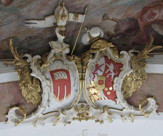 Wappen der Grafen von Montforts in der Schlosskapelle des Neuen Schloss Tettnang