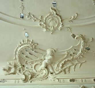 Detail eines Stuckreliefs im Bilderkabinett des Schlosses; Foto: Landesmedienzentrum: Arnim Weischer