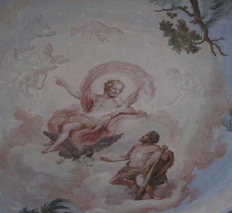 Detail aus dem Deckenfresko von Andreas Brugger im Bacchussaal im Neuen Schloss Tettnang