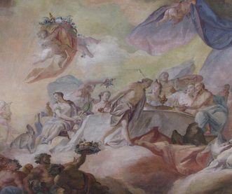 Ausschnitt aus dem Deckenfresko von Franz Martin Kuen von 1758 im Tafelzimmer im Neuen Schloss Tettnang